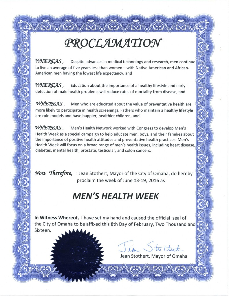 Men's Health Month and Men's Health Week Proclamations ...