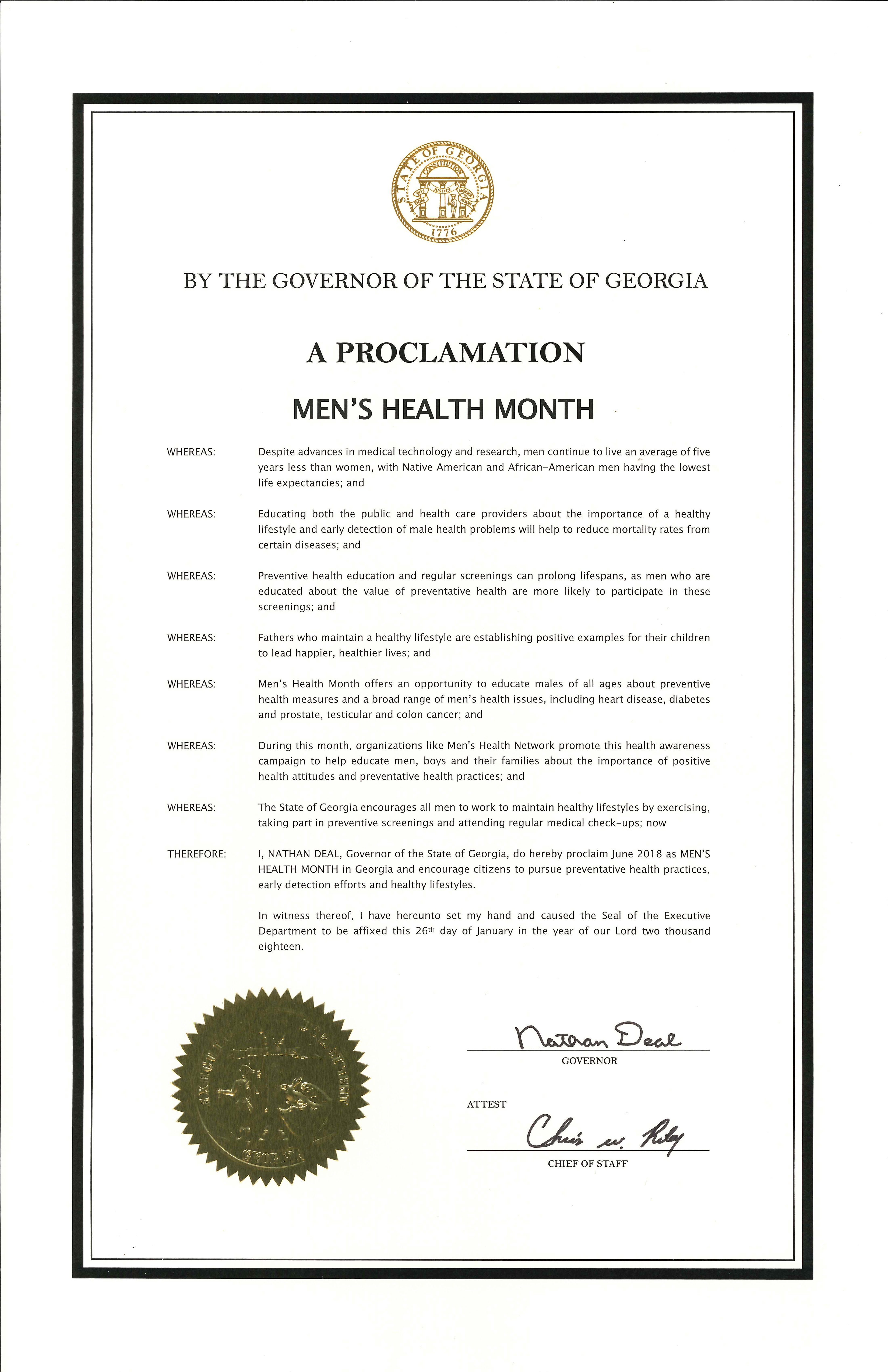 Mens Health Month And Mens Health Week Proclamations Federal And